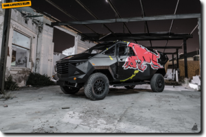 """Red Bull Reveals """"Armored"""" Event Vehicle with Stealthy Look, Land Rover Defender Chassis"""